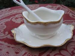 Különleges fazonú  Sarreguemines Francia antik, aranyozott, fajansz szószos edény porcelán kanállal