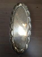 Antik patinás ezüst tálca díszes bordűrrel a szélén 361 gramm