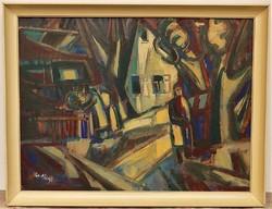 Cs. Nagy András (1927-2009) Falu részlet c . képcsarnokos olajfestménye 86x66cm EREDETI GARANCIÁVAL