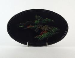 0O868 Régi jelzett kínai lakktálca 27 cm
