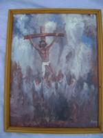 BENE JÓZSEF SZÉKELYDÁLYA,( 1903 - 1986, Ulm) híveivel  a Golgotánál álom szép műalkotás