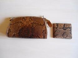 Valódi kígyóbőr retikül táska pénztárcával együtt