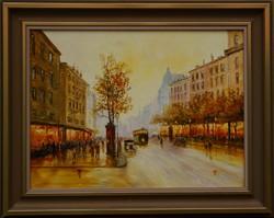 """Tiszavölgyi Ferenc: """"Párizs fényei"""" című 30*40 cm olajfestmény keretben"""