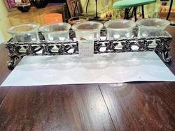 Ón gyertyatartó 5 db üvegtartóval