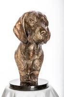 Drótszőrű Magyar Vizsla büszt bronz szobor