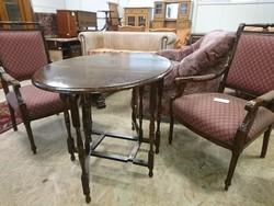 Antik angol asztalka+2 db angol karosszék