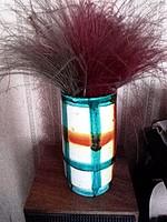 Jelzett retro kockás kerámia váza