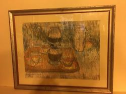 """SédayMária """"Csendélet"""" képcsarnokos,retró festmény"""