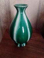 Retro  zöld fehér csíkos  iparművész kerámia váza