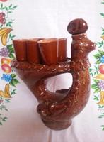 Kerámia pálinkás készlet (barna repesztett páva)