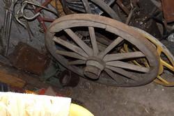 Loft Nagy 100 cm Antik 120 éves tűzoltó szekér kocsi kerék industrial vintage