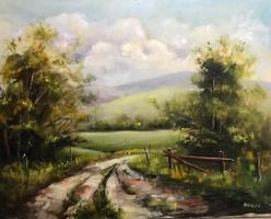 Poros út 3. 50 x 40 cm Eredeti KINVA festmény