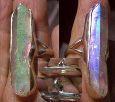 925 ezüst gyűrű, 17/53,4 mm angyal aura kvarccal