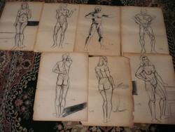 7 db eredeti, bevizsgált Kmetty János akt grafika 60*40 cm