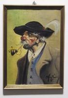 Pipázó férfi portré - olajfestmény - szignált