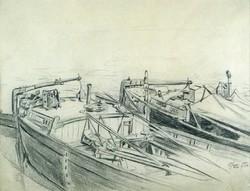 """Magyar festő, 1900 : """"Uszályok"""""""