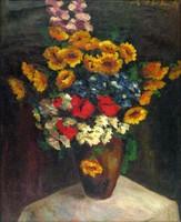 Magyar festő, XX. század : Virágok vázában