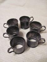 Antik, ART DECO ezüstözött alpakka pohártartó készlet
