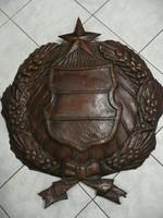 KURIÓZUM! Eredeti nagy bronzozott vörösréz régi magyar fali címer az 1950-es évekből 84 cm!!!!