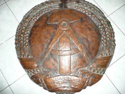 KURIÓZUM! Eredeti nagy bronzozott vörösréz régi NDK fali címer az 1950-es évekből 77 cm!!!!