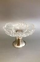 Ezüst asztalközép csiszolt kristály kínálóval