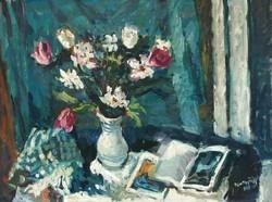 Szentgyörgyi Kornél 1958 / Virágcsendélet KÉPCSARNOKOS