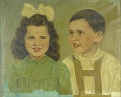 0P701 CS. L. jelzéssel : Gyermekpár portré