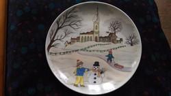 Ak Kaiser porcelán téli jelenetes dísztányér