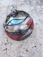 4 db színes dekoros üveggömb