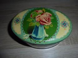 Régi fém rózsás cukros doboz