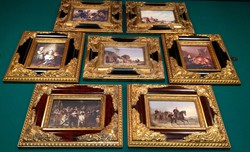Exclusive antique porcelain paintings based on famous painting, baroque gold frame, luxury selection