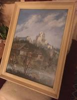 Gyimesi Lajos: Házak a folyóparton. Olaj, farost, jelzett, üvegezett keretben, 45×60 cm + keret