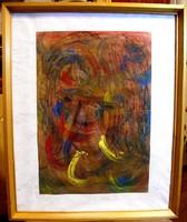Lásd meg önmagad! Krizsánné Jutka kortárs festőművész akvarell papíron fa keretben, eredeti festmény