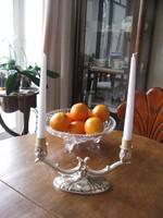 Kétágú ezüstözött gyertyatartó akár ajándéknak is