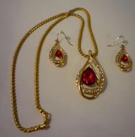 Gold filled Piros csepp garnitúra