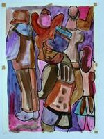 """NÉMETH MIKLÓS """"UTAZÁS"""" (30X21) FESTMÉNY EREDETI (1987)"""