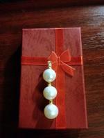 Déltengeri  fehér gyöngy AA 10 mm kerek medál 14 karátos arany