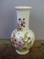 Gyönyörű ritka formájú,nagyméretű Zsolnay magas tűzön égetett,elefántcsont mázas,váza