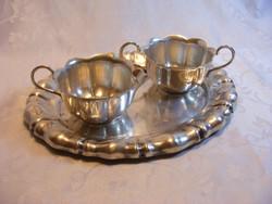 Antik, ezüstözött alpakka, neobarokk stílusú, kávés vagy teás kiegészítő szervírozó készlet tálcával