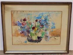 Diener Dénes Rudolf ( 1889-1956 ) Virágcsendélet c, pasztell képe intakt ! Eredeti Garanciával !!!!