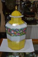 Kézzel festett csehszlovák fedeles porcelán váza