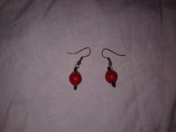Vörös gömb fülbevaló ásvány női ékszer