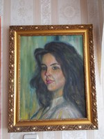 Női portré 55x44 cm olajfestmény.