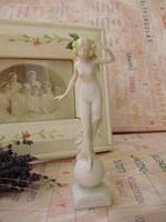"""Extrém ritka antik Scheibe Alsbach art deco porcelán figura akt """"Levéltündér"""""""