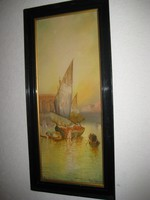 Velence  , Grand Canal   antik festmény , akvarell , szignált  26x60 cm + keret