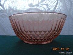 Rózsaszín üveg dombor mintás mély kínáló
