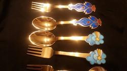 A. Michelsen Dán: aranyozott ezüst kanál-villa 380.20gramm/4 pár