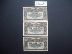 3 darab 10 korona 1920 LOT !!!