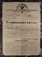 Üvegbiztosítási kötvény - Keleteurópai Ált. Biztosító Rt. - 1952