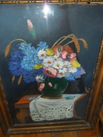 Virágcsendélet vázában  asztalon olajfestméy
